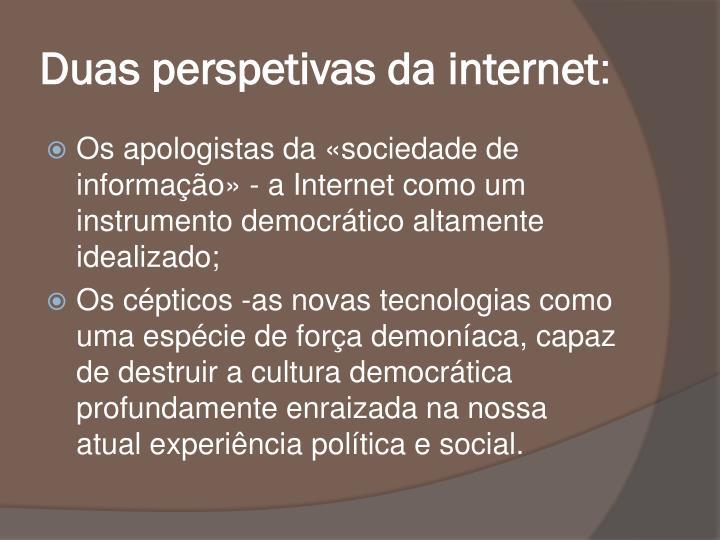 Duas perspetivas da internet