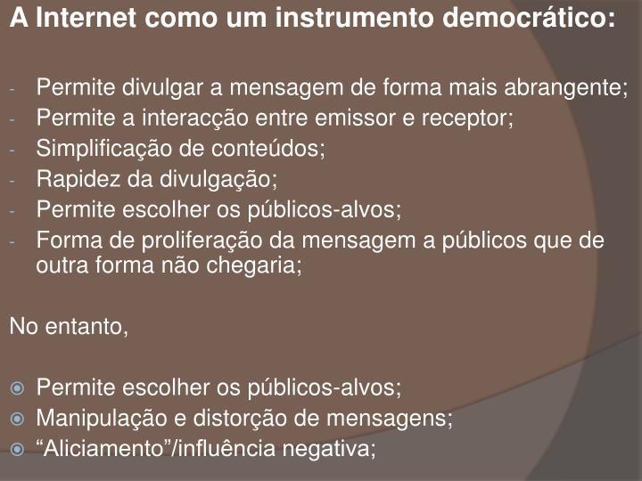 A Internet como um instrumento democrtico: