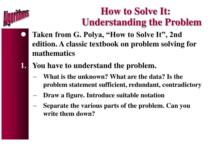How to Solve It: Understanding the Problem