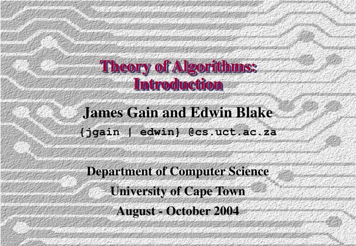 Theory of algorithms introduction