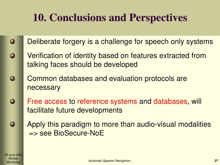 10. Conclusions and Perspectives