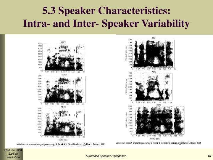 5.3 Speaker Characteristics: