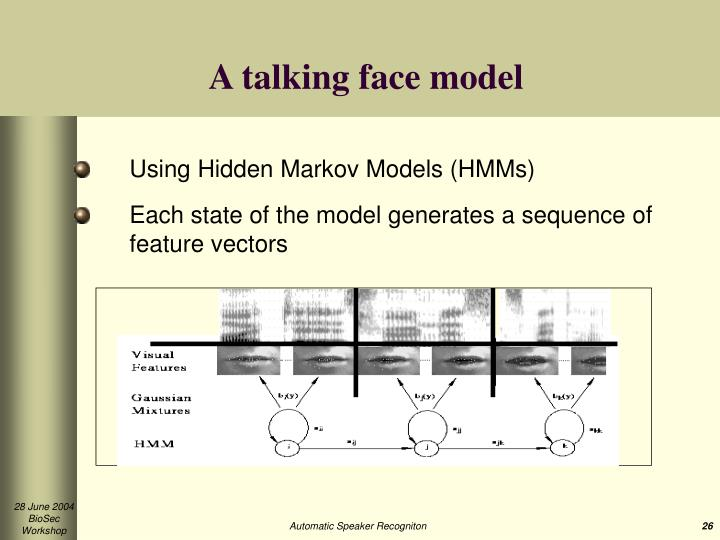 A talking face model