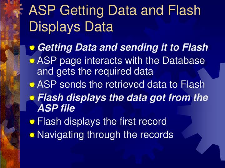 ASP Getting Data and Flash Displays Data