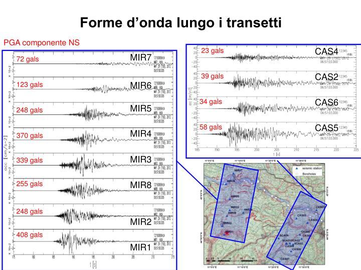 Forme d'onda lungo i transetti
