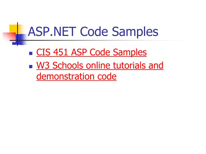 ASP.NET Code Samples