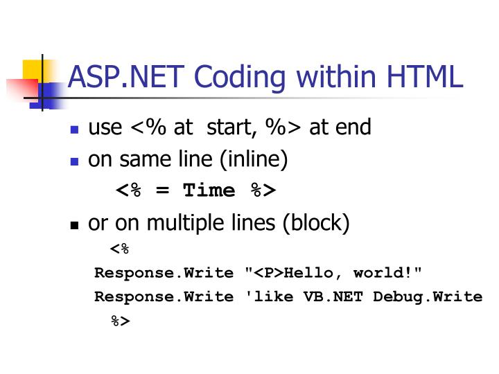 ASP.NET Coding within HTML