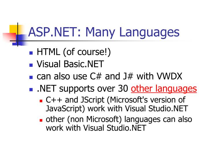 ASP.NET: Many Languages