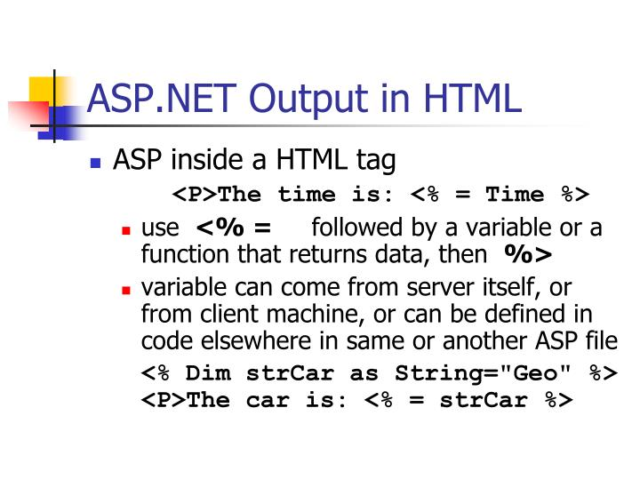 ASP.NET Output in HTML