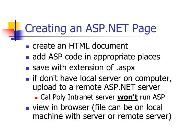 Creating an ASP.NET Page
