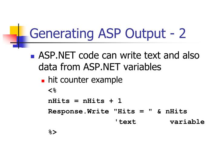 Generating ASP Output - 2