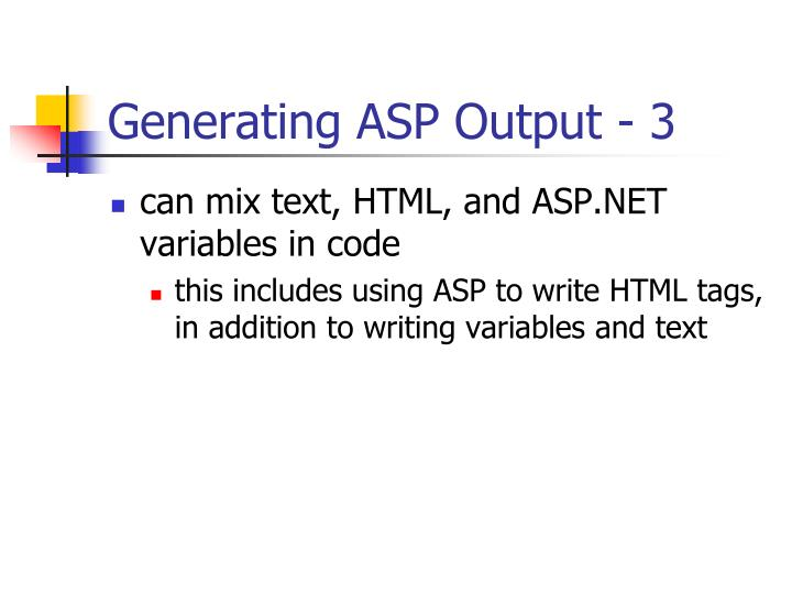 Generating ASP Output - 3