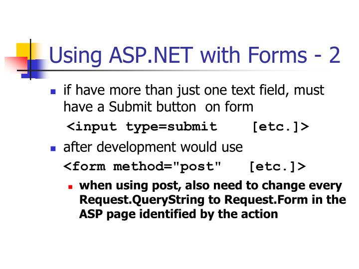 Using ASP.NET with Forms - 2