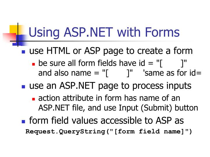 Using ASP.NET with Forms