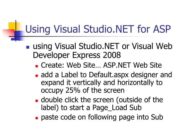 Using Visual Studio.NET for ASP