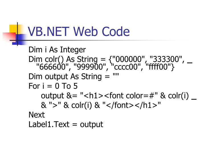 VB.NET Web Code