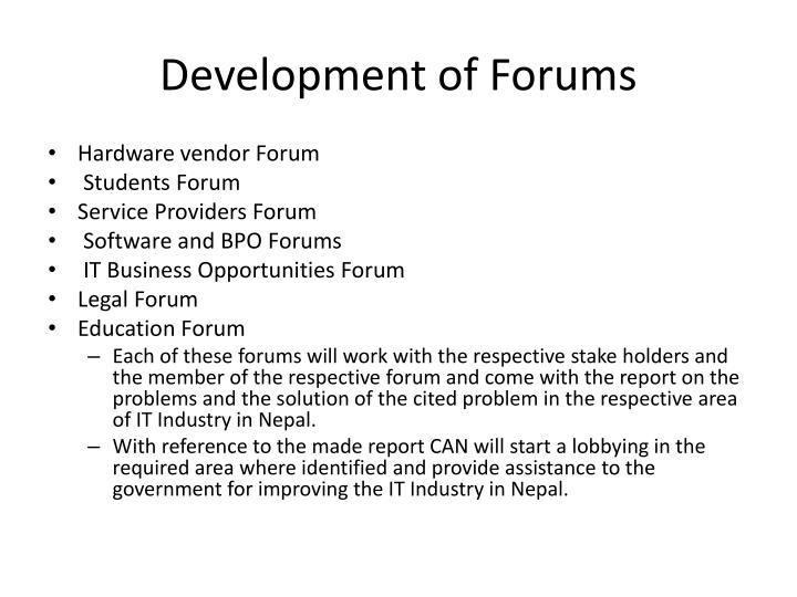 Development of Forums