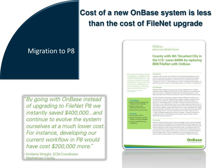 Cost of a new OnBase system is less
