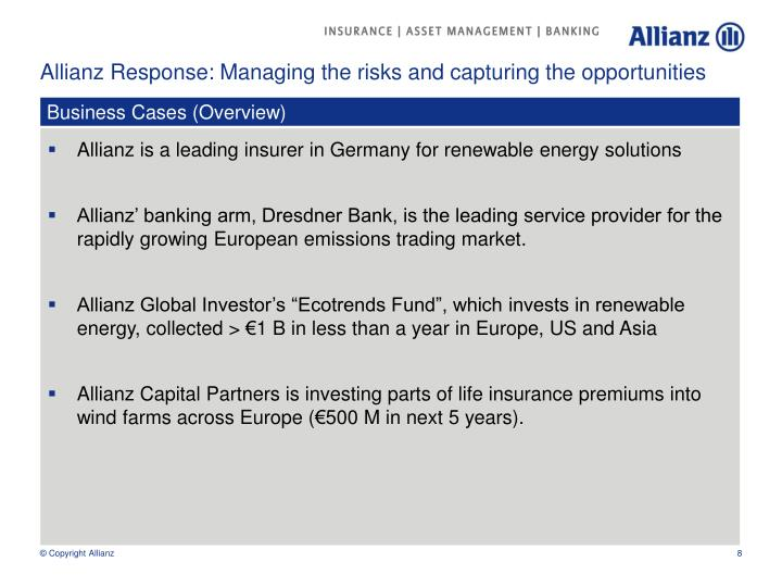Allianz Response: Managing the risks and capturing the opportunities