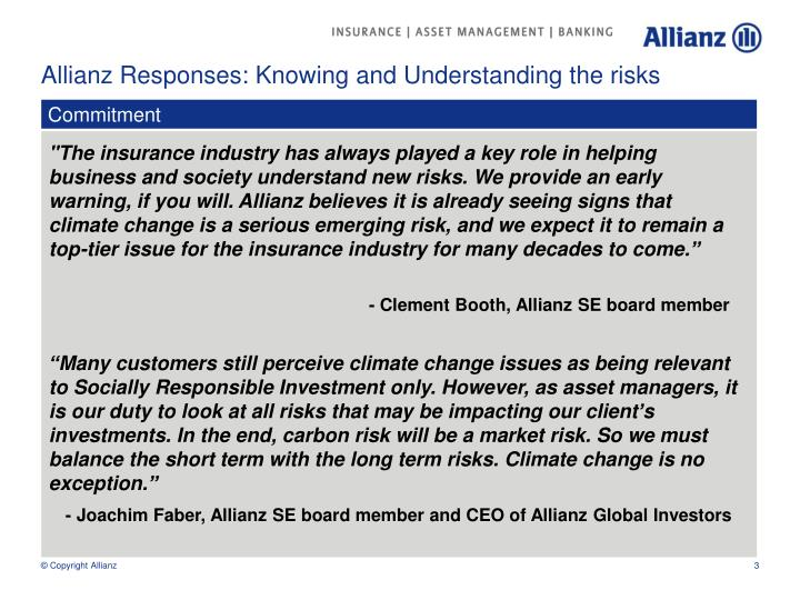 Allianz responses knowing and understanding the risks