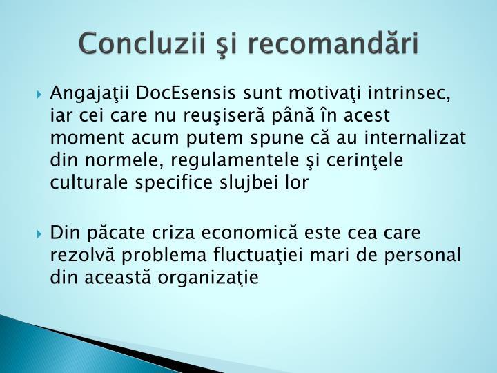Concluzii şi recomandări