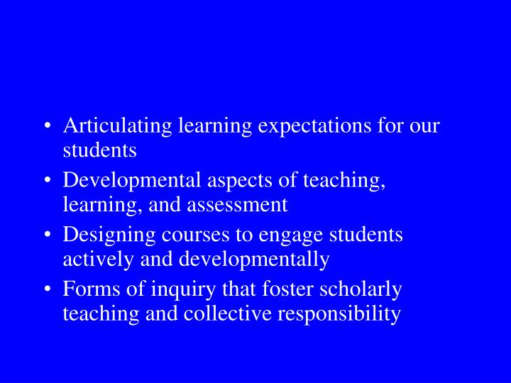 Articulating learning expectations for our students