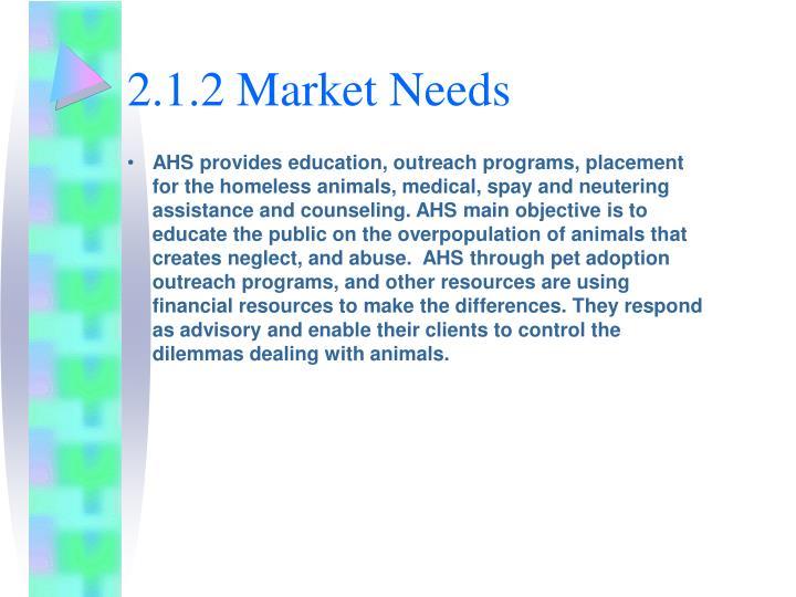 2.1.2 Market Needs
