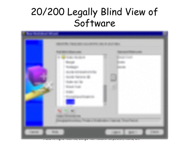 20/200 Legally Blind View of Software
