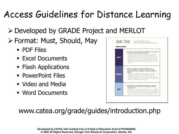 Access Guidelines for Distance Learning