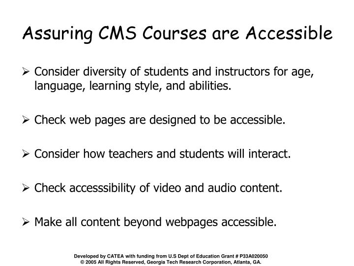 Assuring CMS Courses are Accessible
