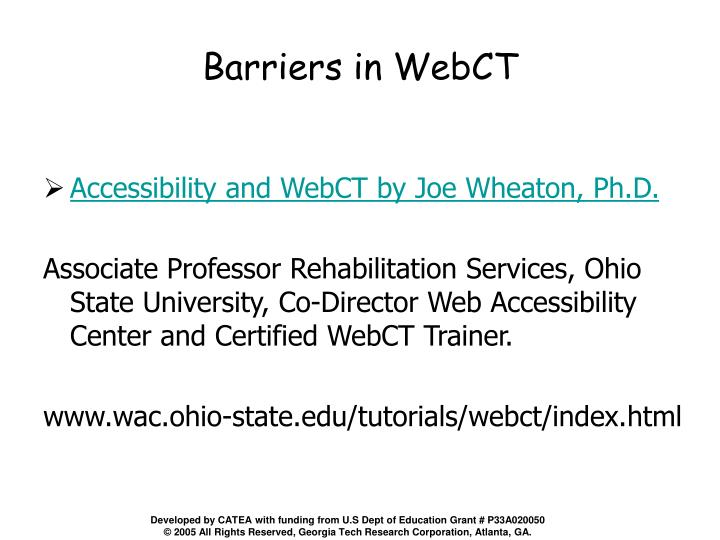 Barriers in WebCT