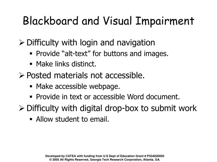 Blackboard and Visual Impairment