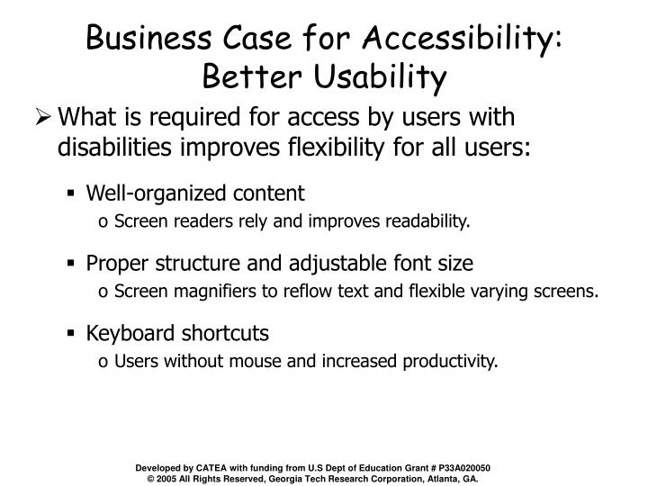 Business Case for Accessibility:
