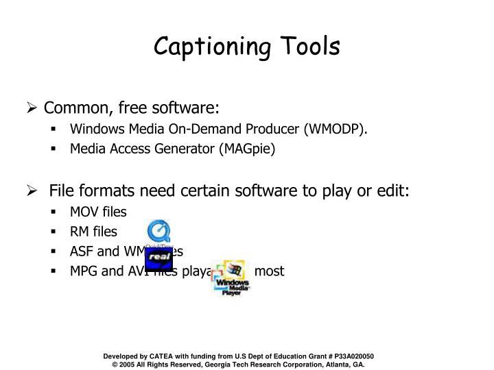 Captioning Tools
