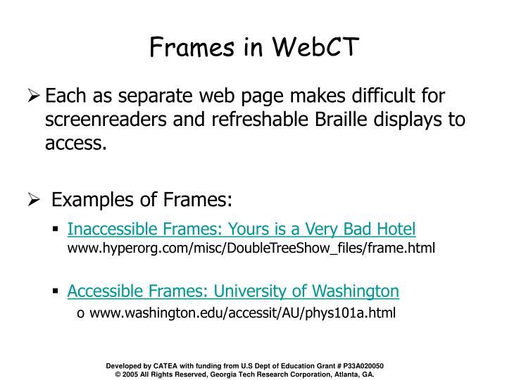 Frames in WebCT