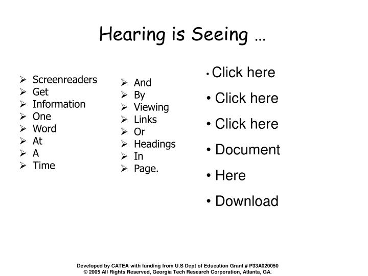 Hearing is Seeing …