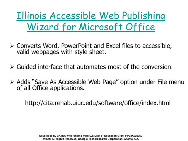 Illinois Accessible Web Publishing Wizard for Microsoft Office