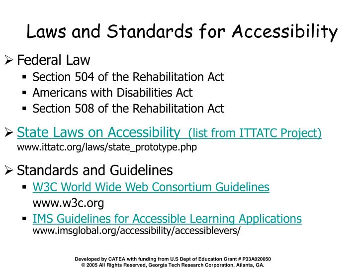 Laws and Standards for Accessibility