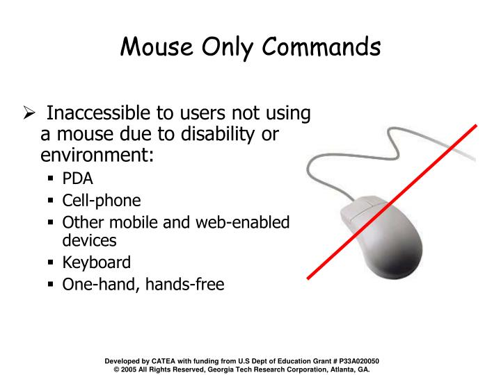 Mouse Only Commands