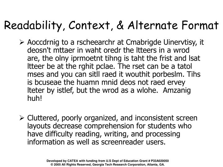 Readability, Context, & Alternate Format