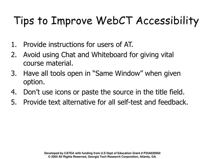 Tips to Improve WebCT Accessibility