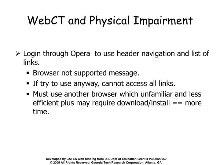 WebCT and Physical Impairment