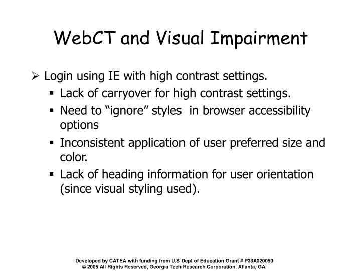 WebCT and Visual Impairment