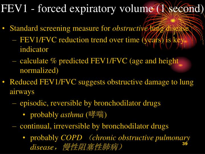 FEV1 - forced expiratory volume (1 second)