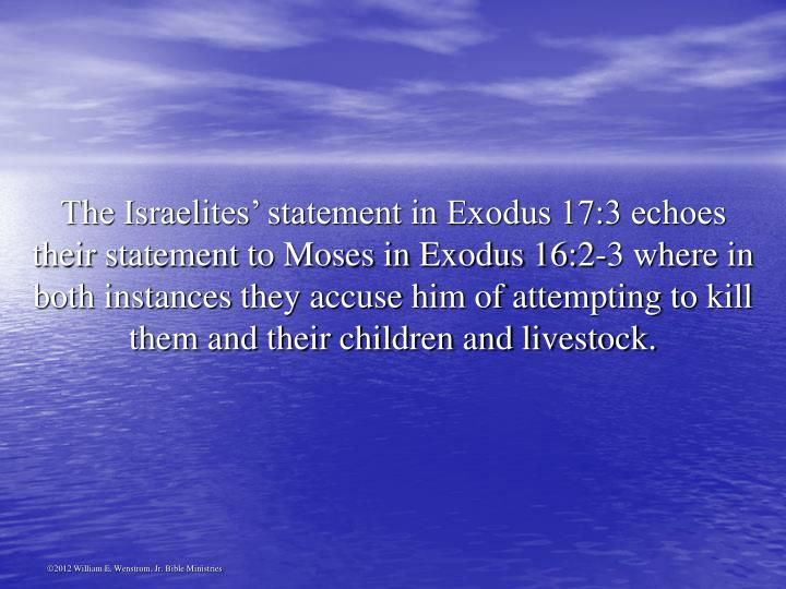 The Israelites' statement in Exodus 17:3 echoes their statement to Moses in Exodus 16:2-3 where in both instances they accuse him of attempting to kill them and their children and livestock.