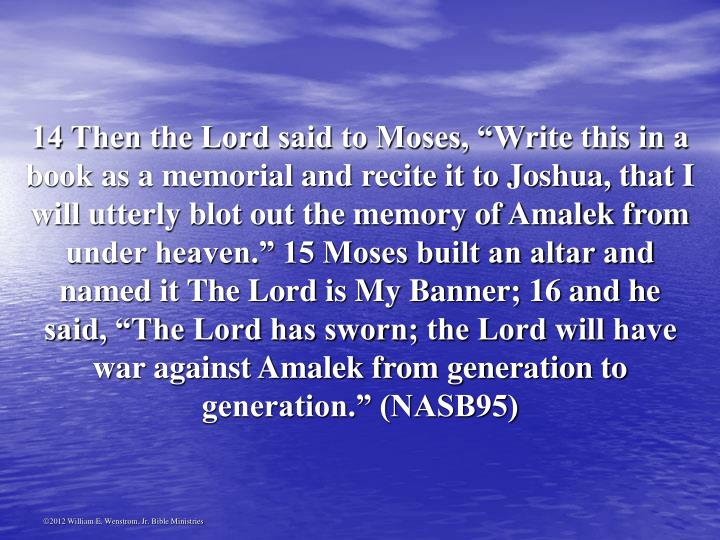"14 Then the Lord said to Moses, ""Write this in a book as a memorial and recite it to Joshua, that I will utterly blot out the memory of Amalek from under heaven."" 15 Moses built an altar and named it The Lord is My Banner; 16 and he said, ""The Lord has sworn; the Lord will have war against Amalek from generation to generation."" (NASB95)"