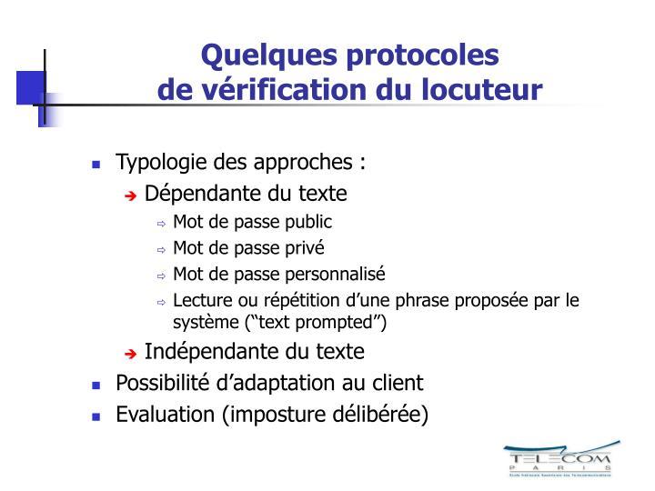 Quelques protocoles