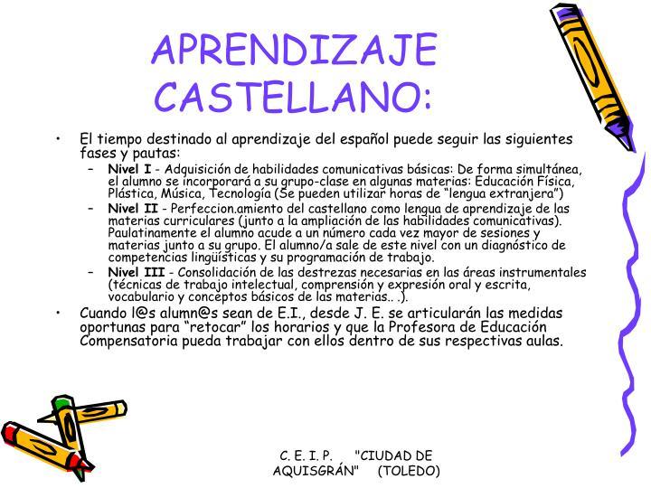 APRENDIZAJE CASTELLANO:
