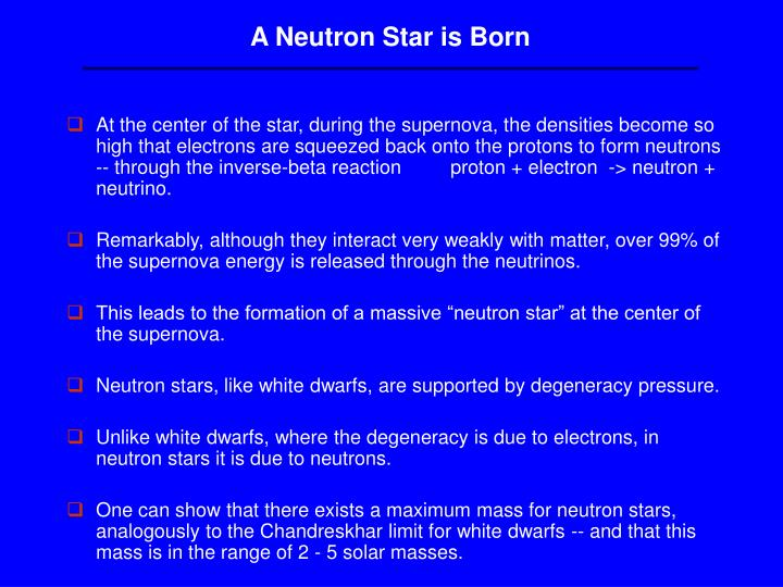 A Neutron Star is Born