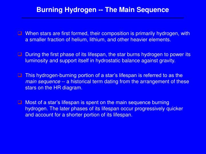 Burning Hydrogen -- The Main Sequence